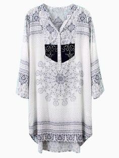 Shop White Vintage Pattern Embroidery V-neck Shift Shirt