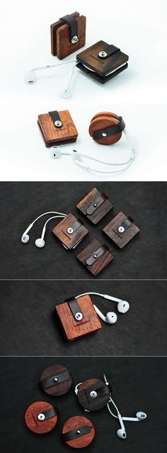 Wooden Headphone Wrap Winder Cable Cord Organizer More