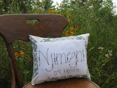 Customized Hand Stitched Decorative Pillow-Last Name & Two First Names Only...$34.00. (thelittlebrownchair)