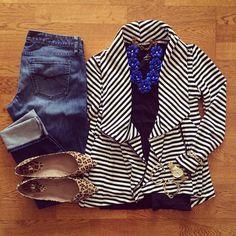Striped Cardigan, Boyfriend Jeans, Leopard Flats | #weekendwear #casualstyle #liketkit | www.liketk.it/19BMR | IG: @whitecoatwardrobe