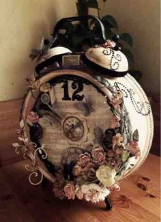 Crafty Flair: Altered Clock Need to do this with Mother's old clock.
