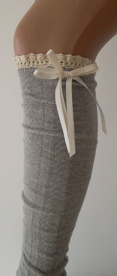 Grey High Knee Socks Boot Socks Lace Over The by CarnavalBoutique