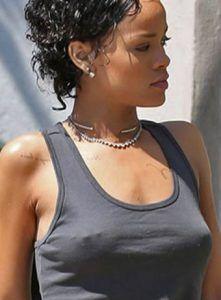 Rhianna wearing nipple piercing jewelry