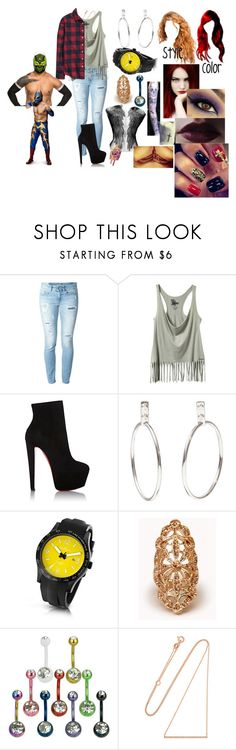 """A hardy and the Masked Man(Sin Cara(Hunico) Love Story)"" by anaeve ❤ liked on Polyvore featuring Dondup, Christian Louboutin, Kennett, Forever 21, Diane Kordas and H&M"