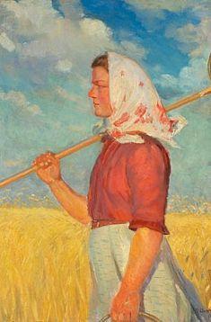 Anna Ancher: Ung høstpige med tørklæde ved en kornmark.