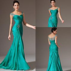 Best Selling Mermaid V-neck Floor Length Turquoise Chiffon Cap Sleeve Prom Dresses Beaded Pleats Discount Prom Gowns Formal Evening Dresses Prom Dresses Under 200, Gold Prom Dresses, Prom Dresses With Sleeves, Prom Dresses For Sale, Mermaid Evening Dresses, Formal Evening Dresses, Prom Gowns, Evening Gowns, Bridesmaid Dresses
