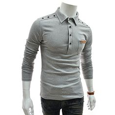 (TCL05-GRAY) Slim Leather Patched Pocket Shoulder Button Long Sleeve Tshirts