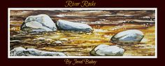 River Rocks  alcohol ink on tile  By Jewel Buhay