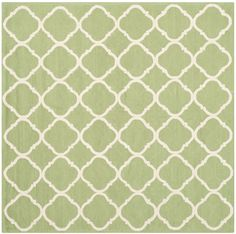 Features:  Technique: -Hooked.  Primary Color: -Green and white.  Material: -Cotton.  Product Type: -Area Rug.  - Hooked.  - Cotton.  -Latex: Yes.  -Contemporary style.  -Geometric pattern.  - Hand ma