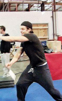 Sebastian Stan practicing Winter Soldier combat