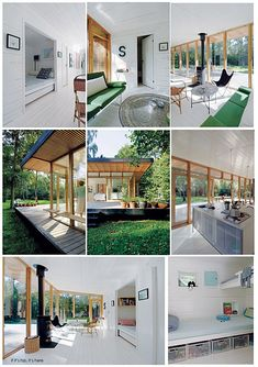 Designed by Christensen & Co. Architects in conjunction with Pernille Poulsen, this Summer Cottage In Denmark is a canopied timber structure measuring only 689 square feet but because of its de… Tiny House Cabin, Cabin Homes, Home Room Design, House Design, Timber Cabin, Ocean House, Beach House, Timber Structure, Concept Home