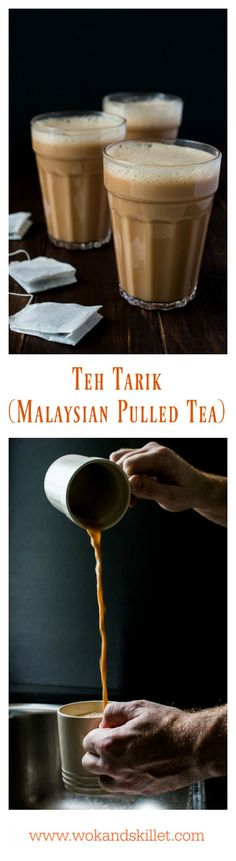 "Teh Tarik (literally translated ""Pulled Tea"") is a rich and creamy tea that originated in Malaysia and is gaining popularity all over the world. The tea is skillfully poured from one jug to another to create the magical froth on the top."