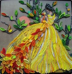The painting, mural Kvilling: Girl-Autumn weaves lace paper.  Photo 1