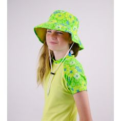 70245c33bcc48 GIRLS BUCKET HAT   FLORAL  Sun Protective and Super Vibrant Girl s  Reversible Bucket Hat with Wide Brim in KIWI
