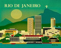Rio De Janeiro, Brazil Horizontal skyline original 8 x 10 illustration print for home, office, nursery - style E8-O-RIO