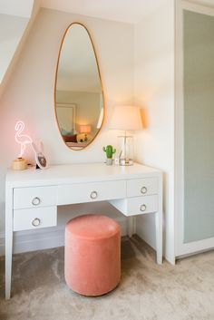White dressing table by DI Designs from the Cheriton range of furniture, also available in black and as a bedside table, coffee table,chest of drawers and end table. Pic credit Sophie Peckett Design and Franklin & Franklin. White Dressing Tables, Dressing Table Design, Affordable Furniture, Furniture Companies, Chest Of Drawers, Desks, Bedside, End Tables, Bedroom Ideas