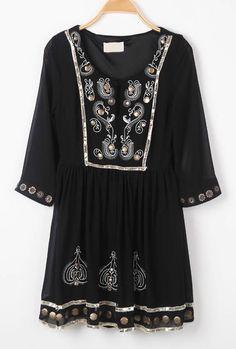 Black Long Sleeve Embroidery Metal Embellished Dress - Sheinside.com