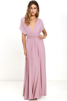 "Lulus Exclusive! Versatility at its finest, the Tricks of the Trade Mauve Maxi Dress knows a trick or two... or four! Two, 76"" long lengths of…"