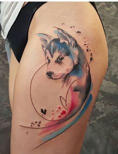 Simona Blanar Watercolor dog tattoo