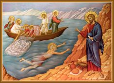 The Appearance of the Lord on the Sea of Tiberius - Damascene Gallery Icon and Church Supply Religious Pictures, Bible Pictures, Religious Icons, Religious Art, Byzantine Art, Byzantine Icons, Christian Artwork, Life Of Christ, Art Icon