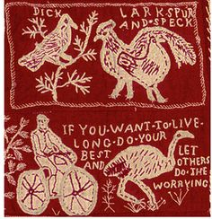 Scene from The Westbury Quilt, one of Australia's textile treasures | Between 1900 and 1903, country girls living on a farm in Tasmania embroidered scenes from their daily life using white thread on a turkey red fabric