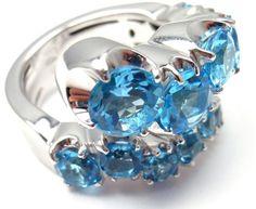 Pasquale Bruni Sun Ray 18K White Gold Diamond and Blue Topaz Ring