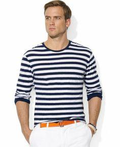 Polo Ralph Lauren Long-Sleeved Striped Jersey Crew-Neck