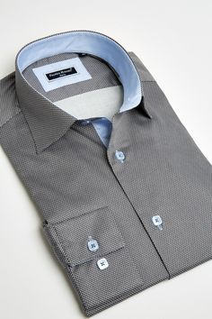 Men Dress Shirt Elegent Franck Michel Collection Florence Dark Grey Print Small Peas - Chemises Franck Michel - Boutique