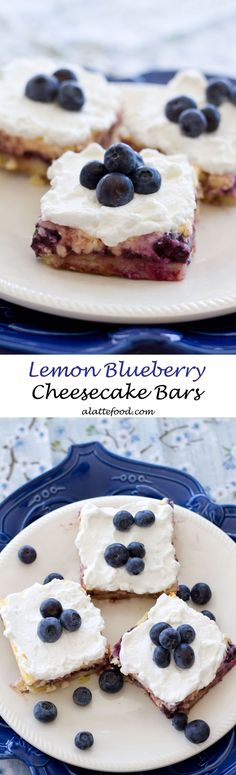 Lemon Blueberry Cheesecake Bars | Creamy and dreamy perfection!