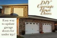 Update those plain garage doors with paint and hardware