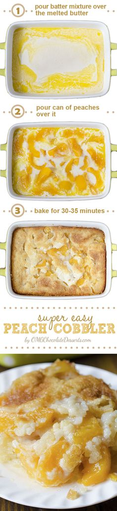There are three reasons why this fantastic Peach Cobbler can become one of your . There are three reasons why this fantastic Peach Cobbler can become one of your favorite recipes – it's super tasty, super simple and super awesome. Köstliche Desserts, Chocolate Desserts, Southern Desserts, East Dessert Recipes, Breakfast Recipes, Peach Cobblers, How Sweet Eats, Sweet Recipes, Peach Recipes Easy