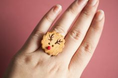 Items similar to Rudolph Reindeer Cookie Ring /Dollhouse MIniature/ Christmas xmas gift jewelry / miniature food / fake food /food jewelry/cookie ring / clay on Etsy Miniature Christmas, Miniature Food, Reindeer Cookies, Christmas Manicure, Cookie Gifts, Fake Food, Beautiful Christmas, Xmas Gifts, Dollhouse Miniatures