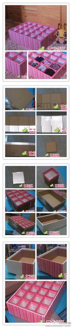 步骤如图所示,内盒纸板尺寸:长26CM宽10CM;内盒纸板中间用裁纸刀片的另一边浅割,不割透,间隔是8*5*8*5, 要做4*5=20个内盒,不算难哦~(by新浪微博 开心DIY)