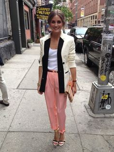 White top, cream blazer, peach pants