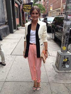 Olivia Palermo wearing Whistles Ashley Satin Tux Jacket, Boutique9 Doetzen 3 Sandals, Tibi Silk-Crepe Tapered Pants and Topshop Basic Scoop Front Vest Top.