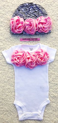 Newborn Baby Girl Take Home Outfit Pink Rosette Couture Onesie and Zebra Hat by BabicakesCouture on Etsy!