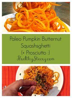 Paleo pumpkin butternut squash spaghetti topped with Prosciutto di Parma + Homemade pumpkin sauce recipe.