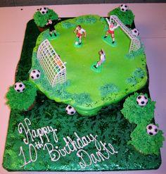 Soccer Field Cupcake Cake