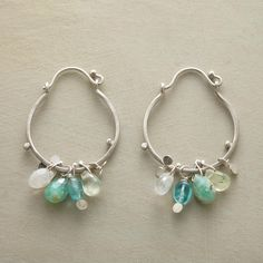 """SHADES OF SERENITY HOOPS--Naomi Herndon joins stones said to invoke calm and spark creativity—prehnite, apatite, rainbow moonstone and Peruvian opal—on handcrafted sterling silver hoops. Exclusive. 1-1/2""""L."""