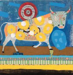 Bull with Yellow Circles - Nathaniel Mather