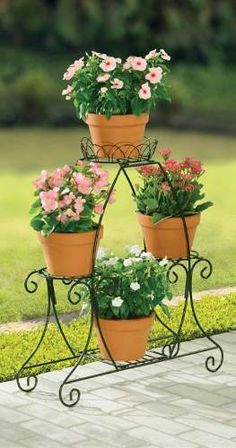How to Plant Potted Flowers Outdoors in the Soil : Garden Space – Top Soop House Plants Decor, Plant Decor, Wrought Iron Decor, Iron Plant, Diy Plant Stand, Plant Stands, Flower Stands, Garden Planters, Balcony Garden