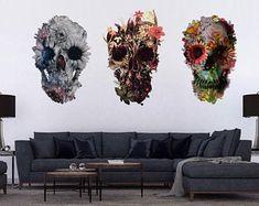 Skull & Animal Art Of Ali Gulec Wall Art & by ikiikishop on Etsy Wall Stickers, Wall Decals, Skull Wall Art, Cool Wall Art, Floral Skull, Skull Print, Cool Walls, Sugar Skull, Art Pieces