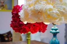 DIY faux flower lampshade Over the top! Perfect for girly rooms, Friday Kahlo shrines (maybe add a m Faux Flowers, Diy Flowers, Fabric Flowers, Lavender Flowers, Faux Flower Arrangements, Rose Crown, Flower Lampshade, Lampshades, Lampshade Chandelier