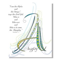 Letter A, Almighty, I AM the Alpha and the Omega, Bible Verse, Revelations 1:8, Scripture, Abstract, Wall Art, Calligraphy by LoveLineSigns on Etsy