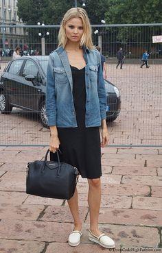 Magdalena Frackowiak after Roberto Cavalli Show    See more here: http://dresscodehighfashion.blogspot.de/2012/10/model-style-at-milan-fashion-week-ss-13_8.html