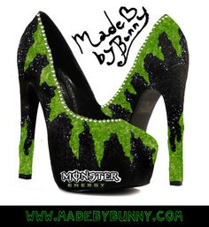 Monster Energy Drink inspired Heels  Glow in the by MadeByBunny, $120.00