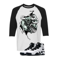 Nike Air Max 2 Uptempo 94 'White & Black' Baseball T (RIP THREW) Nike Air Max 2, Baseball T, Matching Shirts, Street Wear, Mens Tops, T Shirt, Clothes, Collection, Black