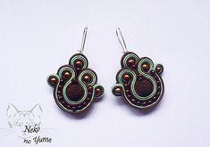 Handmade Brown Green Soutache Earrings - Alice