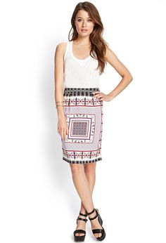 Scarf-Print Pencil Skirt #F21Contemporary