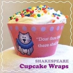 FREE Shakespeare Cupcake Wrap Templates! Includes four original designs in both color and black-and-white. Each template features a different Shakespeare quote. Celebrate Shakespeare's birthday on any day :)